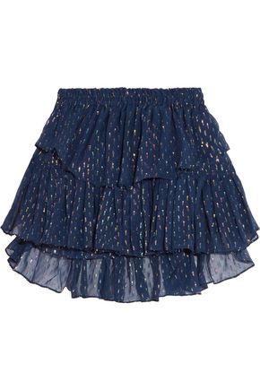 LOVESHACKFANCY Tiered metallic fil coupé and silk-chiffon mini skirt