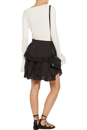 LOVESHACKFANCY Crochet knit-trimmed pleated cotton-gauze mini skirt
