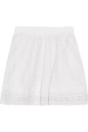 LOVESHACKFANCY Victorian lace-paneled smocked cotton-voile mini skirt