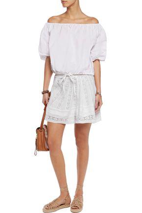 LOVESHACKFANCY Victorian lace-paneled smocked cotton-voile mini skirt