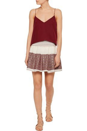 LOVESHACKFANCY Beach embroidered embellished cotton-gauze mini skirt