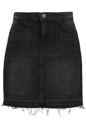 CURRENT/ELLIOTT Frayed stretch-denim mini skirt