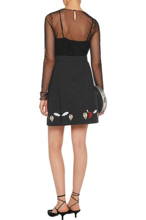 MARKUS LUPFER Embroidered cotton-blend jersey skirt