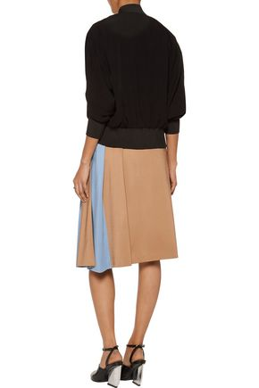 MSGM Two-tone pleated stretch-ponte skirt