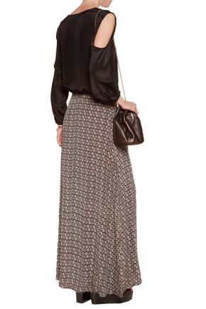 TALITHA Embroidered printed silk crepe de chine maxi skirt