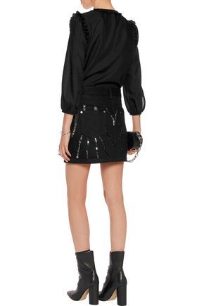 ROBERTO CAVALLI Sequin-embellished denim mini skirt