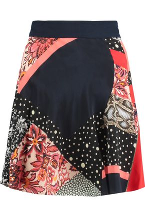 ROBERTO CAVALLI Printed silk mini skirt