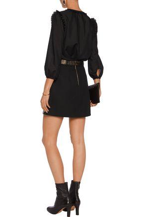 ROBERTO CAVALLI Printed faux leather and fleece wool-blend mini skirt