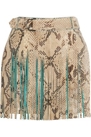 ROBERTO CAVALLI Fringed croc-effect leather mini skirt