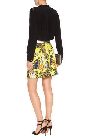 ROBERTO CAVALLI Corded lace-trimmed cotton-blend mini skirt