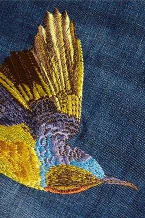 ROBERTO CAVALLI Studded embroidered denim mini skirt