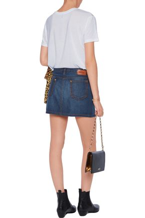ROBERTO CAVALLI Studded embroidered denim mini skirt