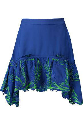 ROBERTO CAVALLI Crepe and embroidered tulle mini skirt
