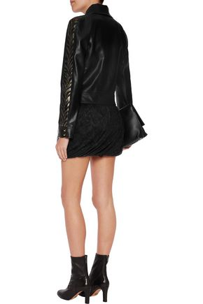ROBERTO CAVALLI Leather-trimmed pleated lace mini skirt