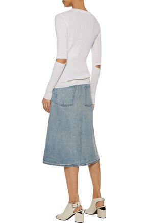 HELMUT LANG Distressed denim skirt