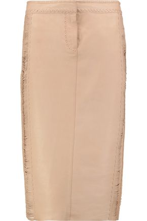 ROBERTO CAVALLI Whipstitched leather skirt