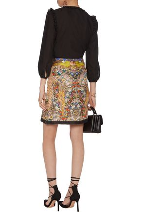 ROBERTO CAVALLI Pleated printed silk skirt