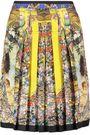 ROBERTO CAVALLI Pleated printed silk skirt