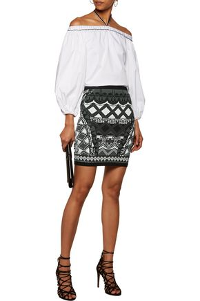 CAMILLA Intarsia-knit mini skirt