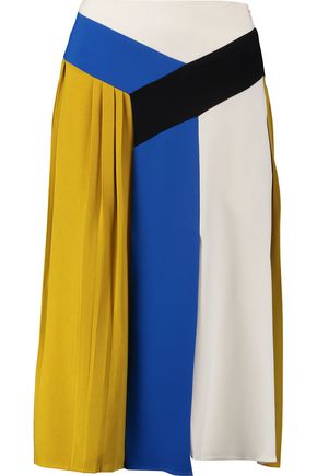 EMILIO PUCCI Pleated paneled crepe skirt
