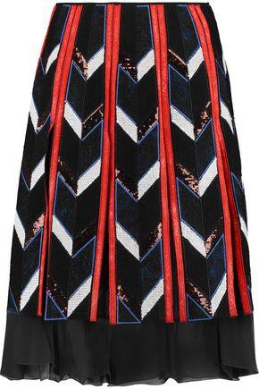 EMILIO PUCCI Embellished felt-appliquéd silk-chiffon skirt