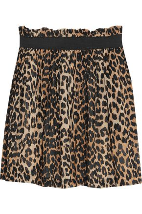 GANNI Printed chiffon mini skirt