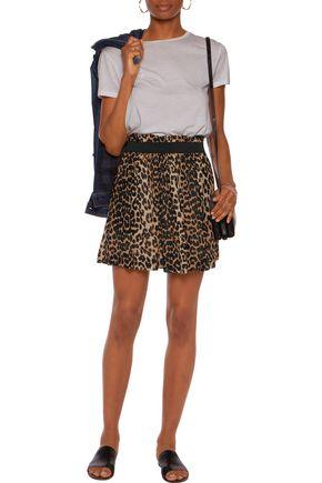 GANNI Leopard-print chiffon mini skirt
