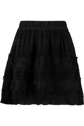 GANNI Lace-paneled plissé-chiffon mini skirt