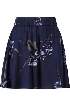 GANNI Printed crepe mini skirt