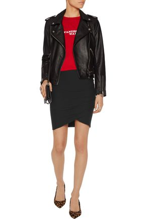 GANNI Ruched stretch-jersey mini skirt