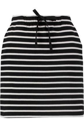 GANNI Striped stretch-cotton mini skirt