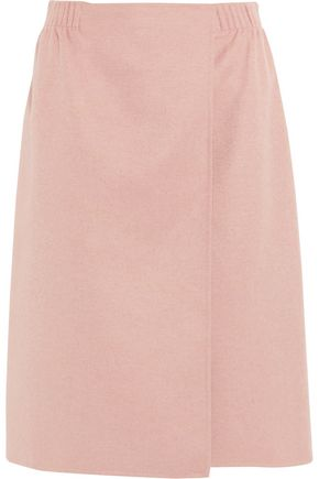 AGNONA Brushed wool, cashmere and silk-blend wrap skirt