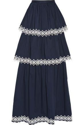 ALEXIS Kali tiered appliquéd cotton-blend poplin maxi skirt