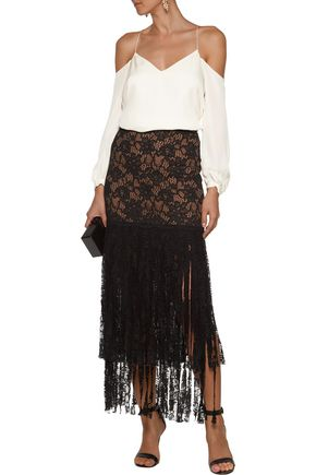 ALEXIS Romina asymmetric fringed corded lace midi skirt