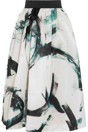 DOLCE & GABBANA Printed silk-twill midi skirt