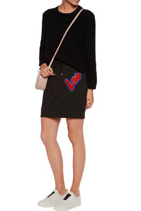 LOVE MOSCHINO Appliquéd cotton mini skirt