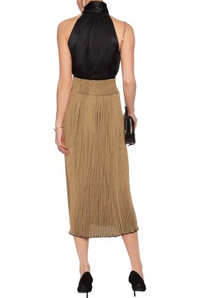SONIA RYKIEL Metallic ribbed stretch-knit midi skirt