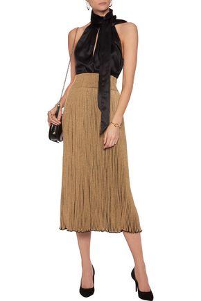 SONIA RYKIEL Metallic ribbed stretch-knit midi skirt
