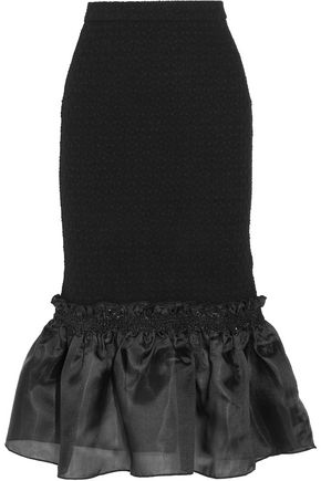 OPENING CEREMONY Ruffled organza-paneled cloqué midi skirt