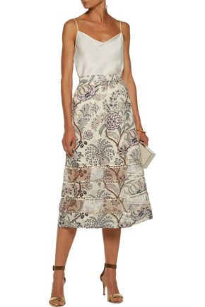 ZIMMERMANN Adorn organza-paneled printed silk crepe de chine midi skirt