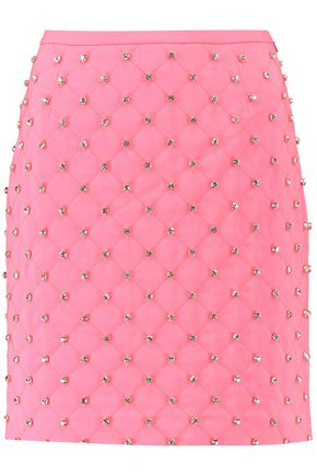 MOSCHINO COUTURE Embellished quilted crepe mini skirt