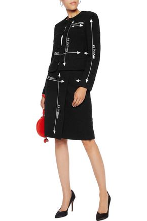 MOSCHINO Wrap-effect embroidered wool-blend skirt