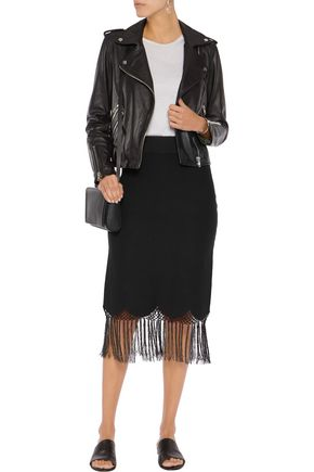 A.L.C. Fringed stretch-knit skirt