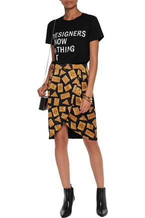 MOSCHINO Wrap-effect printed silk mini skirt