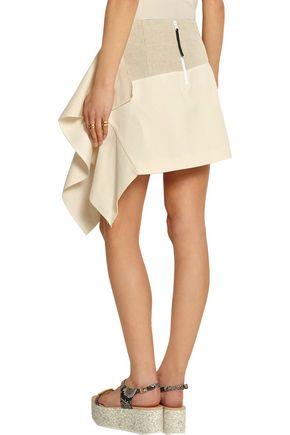 MARNI Asymmetric cotton and linen-blend mini skirt