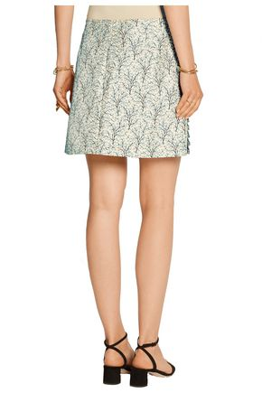 MARNI Printed cotton and silk-blend mini skirt