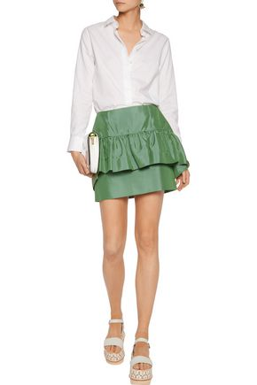 MARNI Ruffled cotton and silk-blend mini skirt