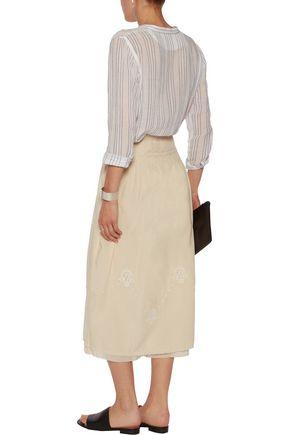 CURRENT/ELLIOTT The Rancher embroidered ruffled cotton midi skirt