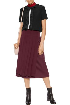 FENDI Silk-paneled wool skirt