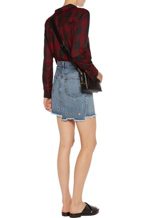 RAG & BONE/JEAN Asymmetric denim mini skirt